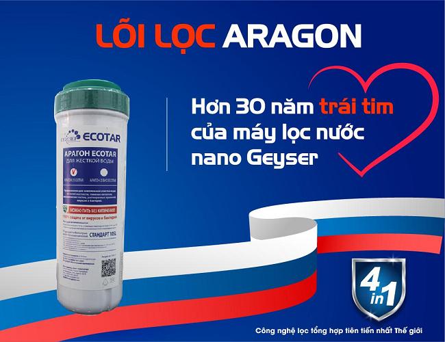 Lõi lọc Aragon, trái tim của máy lọc nước nano Geyser.